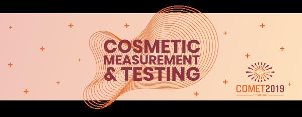 entête graphique et logo de l'événement Cosmetic measurement et testing COMET 2019
