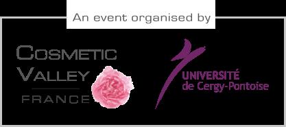 logos des organisateurs de l'événement - Cosmetic Valley et Université de Cergy-Pontoise