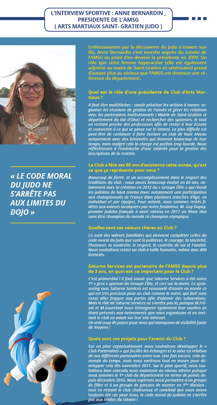 L'INTERVIEW SPORTIVE : ANNE BERNARDIN ,  PRESIDENTE DE L'AMSG  ( ARTS MARTIAUX SAINT- GRATIEN JUDO )