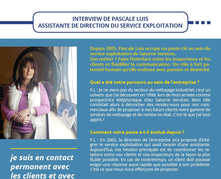 INTERVIEW DE PASCALE LUIS ASSISTANTE DE DIRECTION DU SERVICE EXPLOITATION
